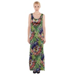 Background Square Flower Vintage Maxi Thigh Split Dress by Nexatart