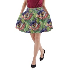 Background Square Flower Vintage A-line Pocket Skirt by Nexatart