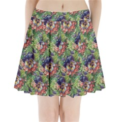Background Square Flower Vintage Pleated Mini Skirt by Nexatart