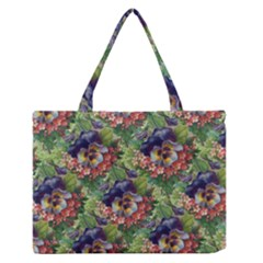 Background Square Flower Vintage Zipper Medium Tote Bag