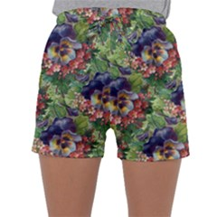 Background Square Flower Vintage Sleepwear Shorts
