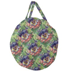 Background Square Flower Vintage Giant Round Zipper Tote