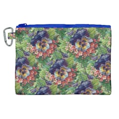 Background Square Flower Vintage Canvas Cosmetic Bag (xl) by Nexatart