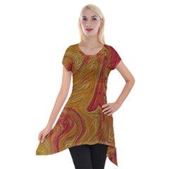 Texture Pattern Abstract Art Short Sleeve Side Drop Tunic