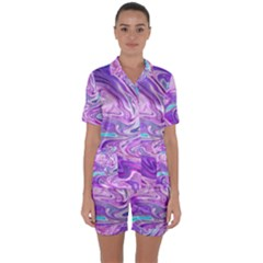 Abstract Art Texture Form Pattern Satin Short Sleeve Pyjamas Set