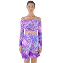 Abstract Art Texture Form Pattern Off Shoulder Top With Skirt Set