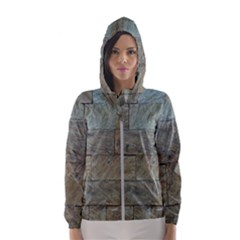 Wall Stone Granite Brick Solid Hooded Wind Breaker (women)