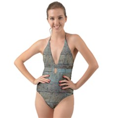 Wall Stone Granite Brick Solid Halter Cut Out One Piece Swimsuit