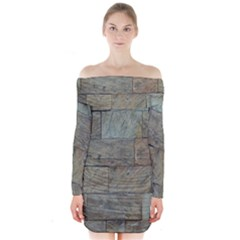 Wall Stone Granite Brick Solid Long Sleeve Off Shoulder Dress