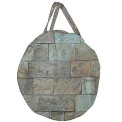 Wall Stone Granite Brick Solid Giant Round Zipper Tote