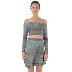Wall Stone Granite Brick Solid Off Shoulder Top With Skirt Set by Nexatart