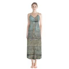 Wall Stone Granite Brick Solid Button Up Chiffon Maxi Dress by Nexatart