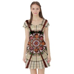 Pattern Round Abstract Geometric Short Sleeve Skater Dress