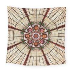 Pattern Round Abstract Geometric Square Tapestry (large) by Nexatart