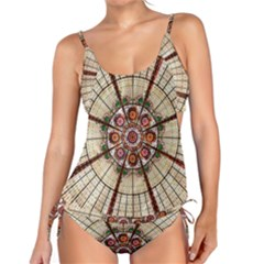 Pattern Round Abstract Geometric Tankini Set