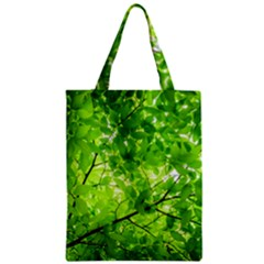 Green Wood The Leaves Twig Leaf Texture Zipper Classic Tote Bag
