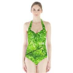 Green Wood The Leaves Twig Leaf Texture Halter Swimsuit