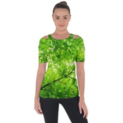 Green Wood The Leaves Twig Leaf Texture Short Sleeve Top