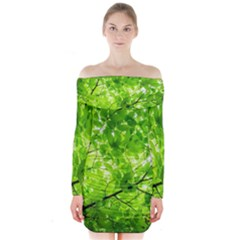 Green Wood The Leaves Twig Leaf Texture Long Sleeve Off Shoulder Dress