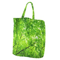 Green Wood The Leaves Twig Leaf Texture Giant Grocery Zipper Tote
