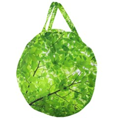 Green Wood The Leaves Twig Leaf Texture Giant Round Zipper Tote