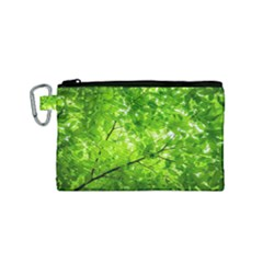 Green Wood The Leaves Twig Leaf Texture Canvas Cosmetic Bag (small) by Nexatart