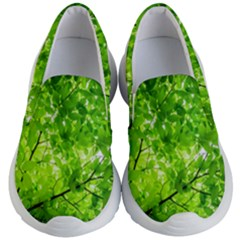 Green Wood The Leaves Twig Leaf Texture Kid s Lightweight Slip Ons