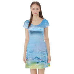 Background Art Abstract Watercolor Short Sleeve Skater Dress by Nexatart