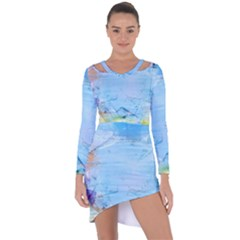 Background Art Abstract Watercolor Asymmetric Cut Out Shift Dress