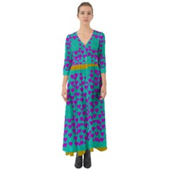Raining Love And Hearts In The  Wonderful Sky Button Up Boho Maxi Dress by pepitasart