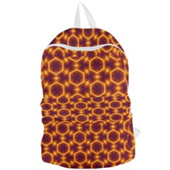 Black And Orange Diamond Pattern Foldable Lightweight Backpack by Fractalsandkaleidoscopes