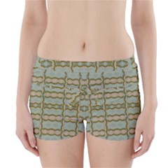 Celtic Wood Knots In Decorative Gold Boyleg Bikini Wrap Bottoms