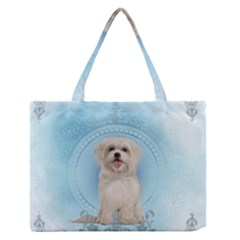 Cute Little Havanese Puppy Zipper Medium Tote Bag by FantasyWorld7