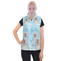 Cute Little Havanese Puppy Women s Button Up Puffer Vest by FantasyWorld7