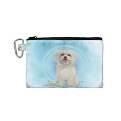Cute Little Havanese Puppy Canvas Cosmetic Bag (small)