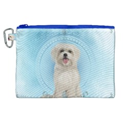 Cute Little Havanese Puppy Canvas Cosmetic Bag (xl) by FantasyWorld7