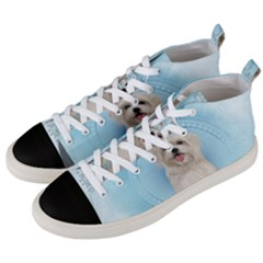 Cute Little Havanese Puppy Men s Mid Top Canvas Sneakers by FantasyWorld7