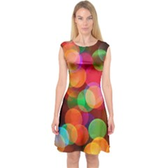Color Explosion Capsleeve Midi Dress