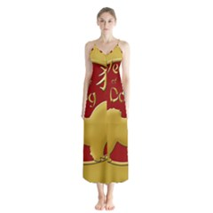 Year Of The Dog   Chinese New Year Button Up Chiffon Maxi Dress