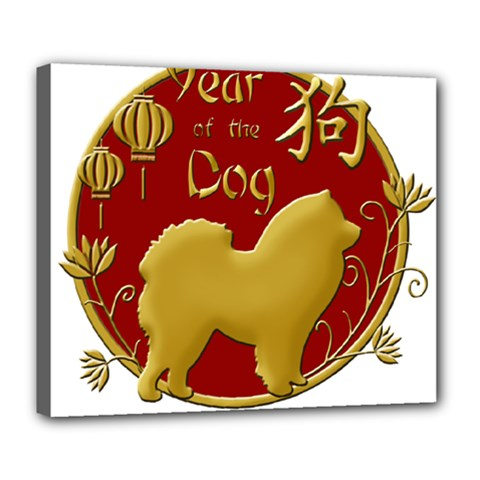 Year Of The Dog   Chinese New Year Deluxe Canvas 24  X 20