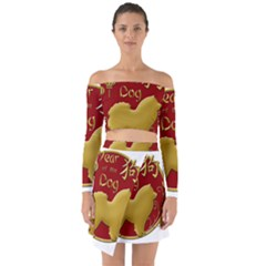 Year Of The Dog   Chinese New Year Off Shoulder Top With Skirt Set