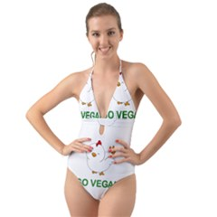 Go Vegan   Cute Chick  Halter Cut Out One Piece Swimsuit