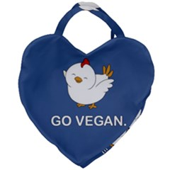 Go Vegan   Cute Chick  Giant Heart Shaped Tote by Valentinaart