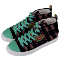 Paradise Flowers In A Decorative Jungle Women s Mid Top Canvas Sneakers by pepitasart