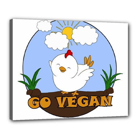 Go Vegan   Cute Chick  Canvas 20  X 16  by Valentinaart