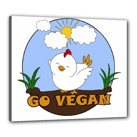 Go Vegan   Cute Chick  Canvas 24  X 20  by Valentinaart