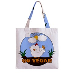 Go Vegan   Cute Chick  Grocery Tote Bag by Valentinaart