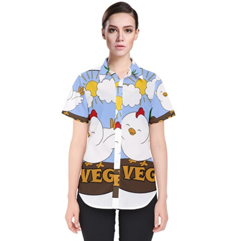 Go Vegan   Cute Chick  Women s Short Sleeve Shirt by Valentinaart