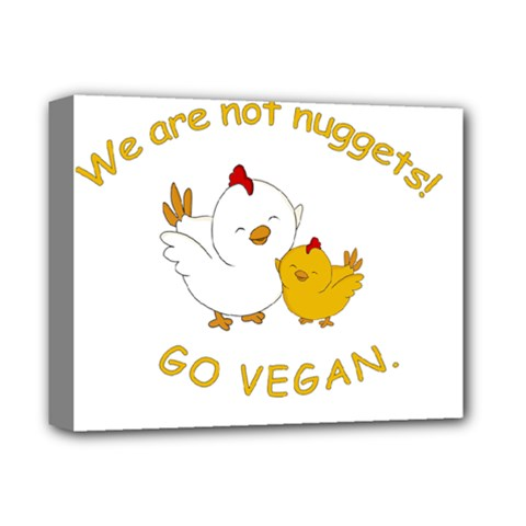 Go Vegan   Cute Chick  Deluxe Canvas 14  X 11