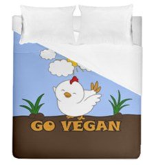 Go Vegan   Cute Chick  Duvet Cover (queen Size)